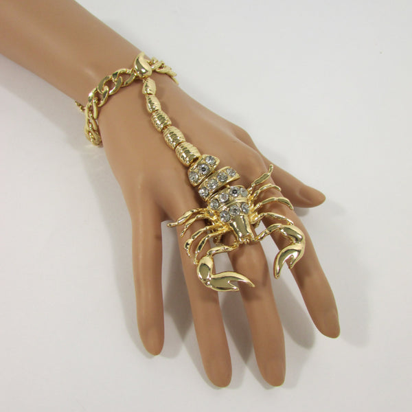 New Women Gold Metal Long Scorpion Connected Hand Chain Classic Fashion Bracelet Finger Slave Ring Rhinestones Wedding Body - alwaystyle4you - 2