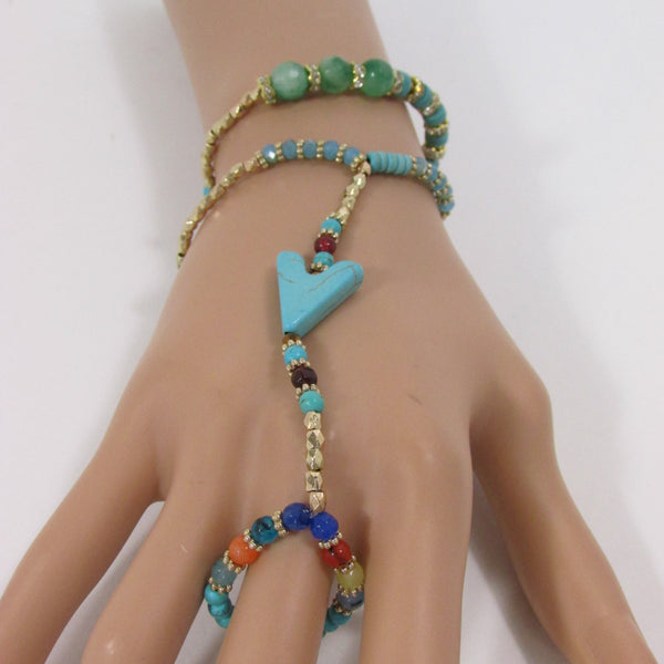 New Women Elastic Connected Arrow Hand Chain Classic Fashion Bracelet Finger Slave Ring Turquoise Blue Gold Beads Wedding Body - alwaystyle4you - 1