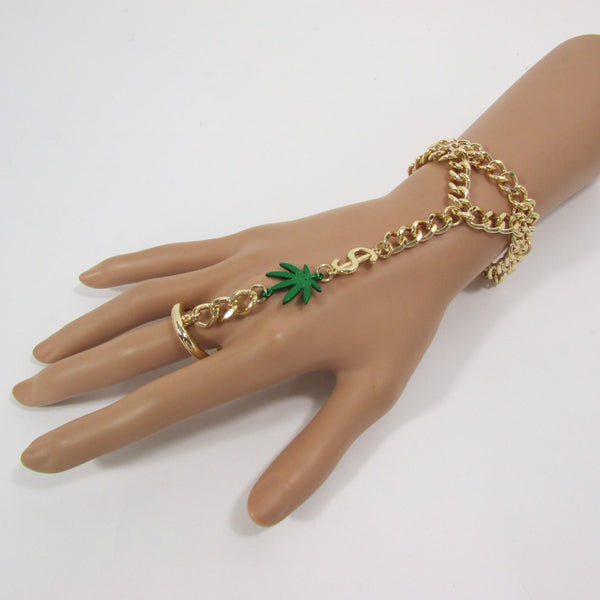 New Women Gold Metal Dollar Sign Connected Green Marihuana Leaves Hand Chain Trendy Fashion Bracelet Finger Slave Ring Body - alwaystyle4you - 1