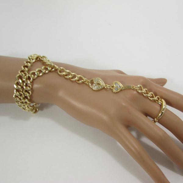 New Women Gold Metal Lock key Connected Hand Chain Trendy Fashion Bracelet Finger Slave Ring Body - alwaystyle4you - 5