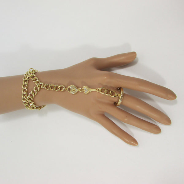 New Women Gold Metal Lock key Connected Hand Chain Trendy Fashion Bracelet Finger Slave Ring Body - alwaystyle4you - 2