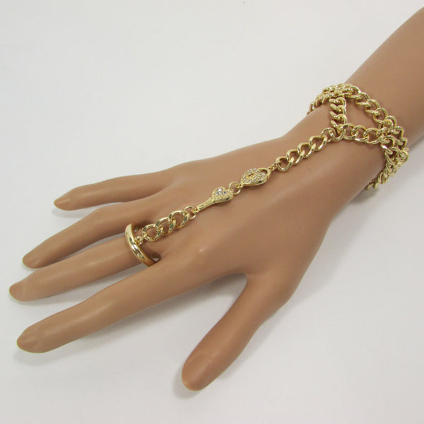 New Women Gold Metal Lock key Connected Hand Chain Trendy Fashion Bracelet Finger Slave Ring Body - alwaystyle4you - 4