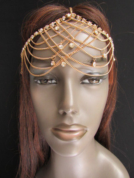 One Size Brand New Women Gold Metal Trendy Forehead Head Chain Fashion Hair Jewelry  Silver  Rhinestones - alwaystyle4you - 4