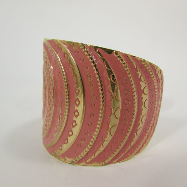 "Gold With Pink / Black / Metal 2"" Wide Cuff Bracelet Hand Trendy Fashion New Women Jewelry Accessories - alwaystyle4you - 9"