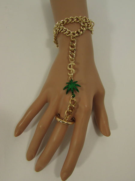 New Women Gold Metal Dollar Sign Connected Green Marihuana Leaves Hand Chain Trendy Fashion Bracelet Finger Slave Ring Body - alwaystyle4you - 5