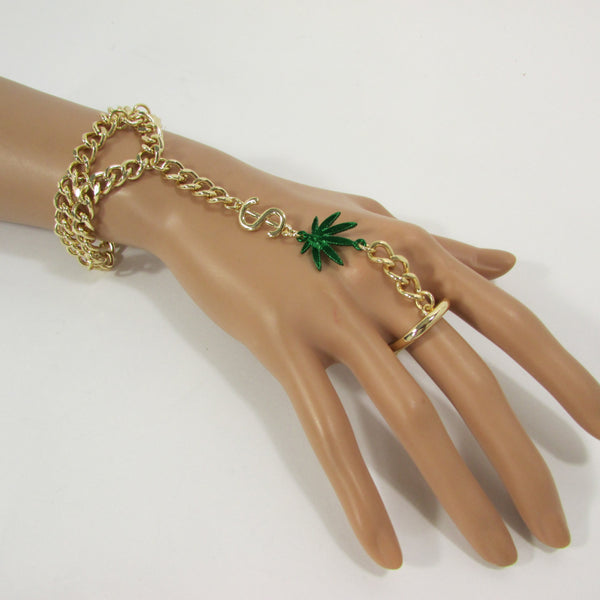 New Women Gold Metal Dollar Sign Connected Green Marihuana Leaves Hand Chain Trendy Fashion Bracelet Finger Slave Ring Body - alwaystyle4you - 4