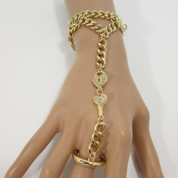 New Women Gold Metal Lock key Connected Hand Chain Trendy Fashion Bracelet Finger Slave Ring Body - alwaystyle4you - 1