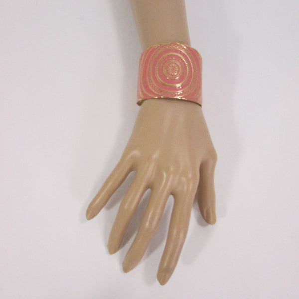 "Gold With Pink / Black / Metal 2"" Wide Cuff Bracelet Hand Trendy Fashion New Women Jewelry Accessories - alwaystyle4you - 6"