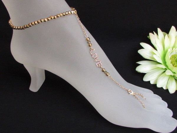 New Women Gold Metal Casual Fashion Anklet Foot Thin Chain Fashion Jewelry Silver LOVE Rhinestones Charm Pool Beach Wedding Party - alwaystyle4you - 4