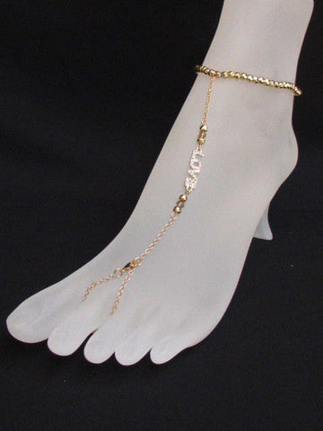 New Women Gold Metal Casual Fashion Anklet Foot Thin Chain Fashion Jewelry Silver LOVE Rhinestones Charm Pool Beach Wedding Party - alwaystyle4you - 1