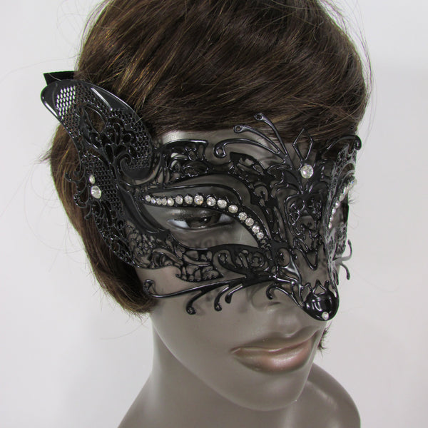 New Women Fashion Mardi Gras Black Metal Half Mask Fox Face Silver Rhinestones Halloween Carnival Back Tie - alwaystyle4you - 4