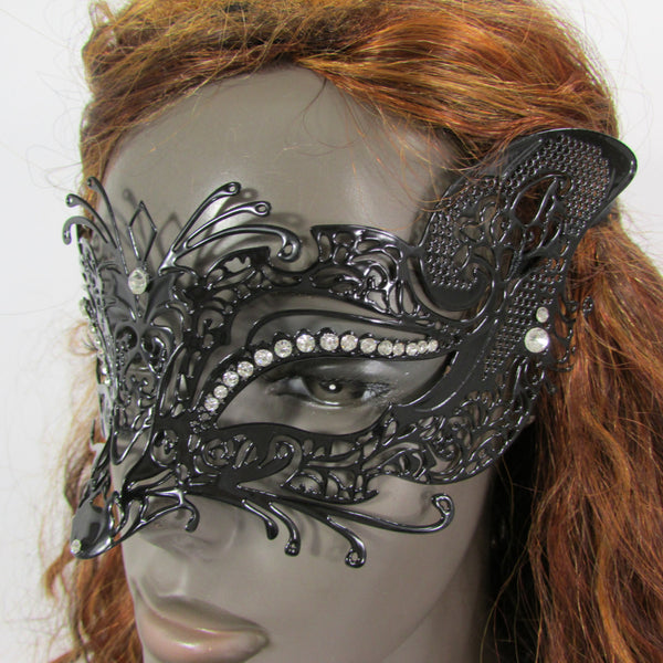 New Women Fashion Mardi Gras Black Metal Half Mask Fox Face Silver Rhinestones Halloween Carnival Back Tie - alwaystyle4you - 3