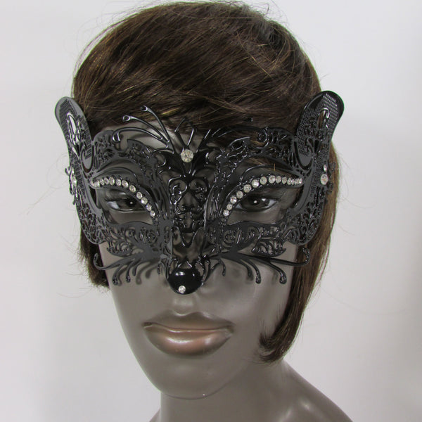 New Women Fashion Mardi Gras Black Metal Half Mask Fox Face Silver Rhinestones Halloween Carnival Back Tie - alwaystyle4you - 2