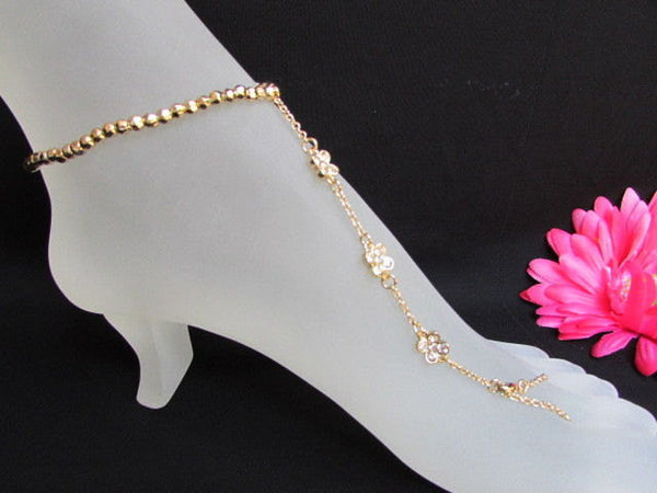 New Women Gold Metal Casual Trendy Fashion Anklet Foot Thin Chain Jewelry Small Flower Roses Clear Rhinestones Charm Beach Party Weddings - alwaystyle4you - 4