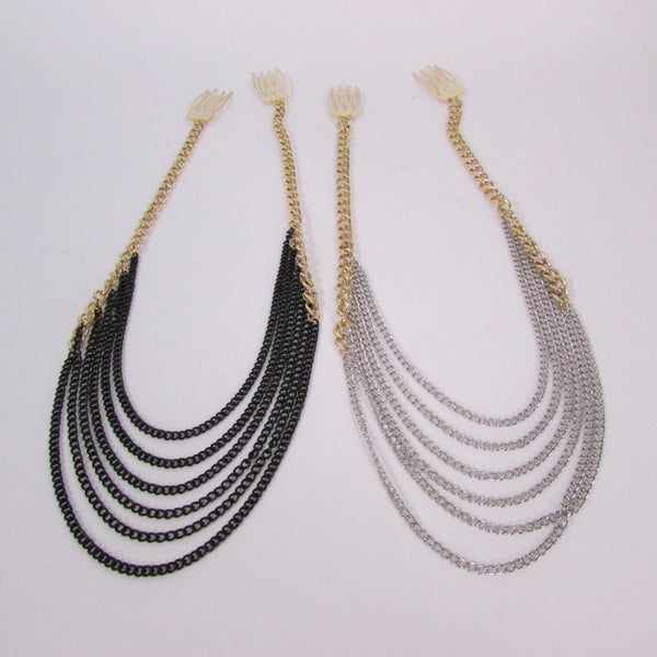 Brand New Trendy Women Gold Metal Long Head Chain Sides Clips Multi Waves Silver / Black Draps Strands Fashion Jewelry #0003 - alwaystyle4you - 3