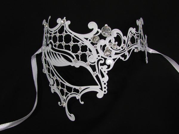 New Women Fashion Mardi Gras White Metal Half Mask Silver Rhinestones Halloween Carnival Half Face Right Side Back Tie - alwaystyle4you - 1