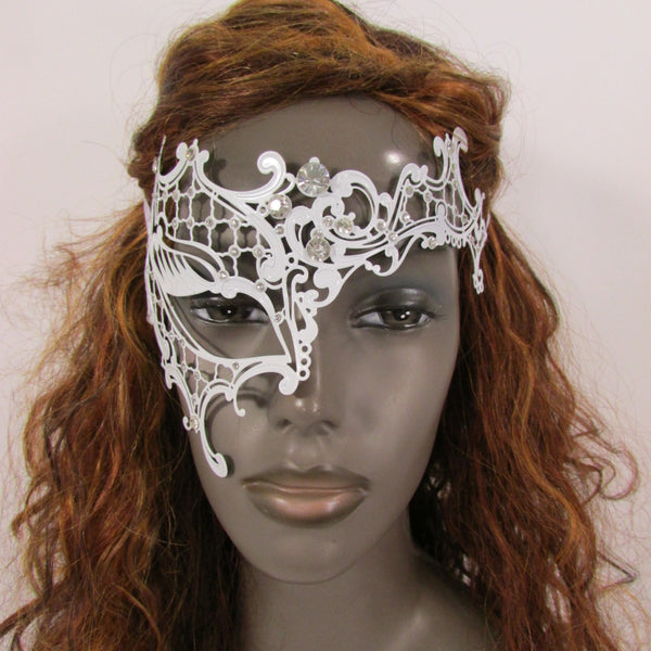 New Women Fashion Mardi Gras White Metal Half Mask Silver Rhinestones Halloween Carnival Half Face Right Side Back Tie - alwaystyle4you - 2