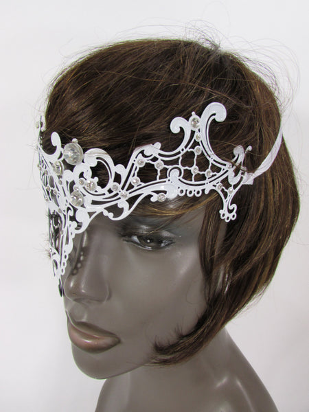 New Women Fashion Mardi Gras White Metal Half Mask Silver Rhinestones Halloween Carnival Half Face Right Side Back Tie - alwaystyle4you - 4