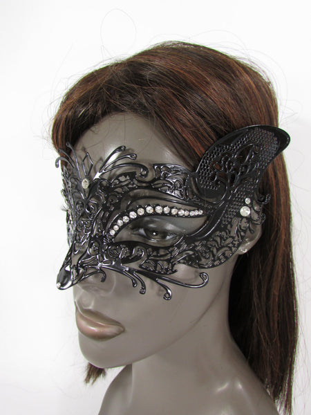 New Women Fashion Mardi Gras Black Metal Half Mask Fox Face Silver Rhinestones Halloween Carnival Back Tie - alwaystyle4you - 5