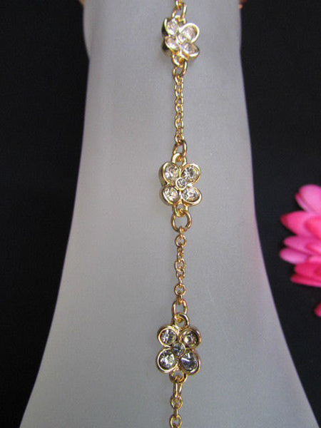 New Women Gold Metal Casual Trendy Fashion Anklet Foot Thin Chain Jewelry Small Flower Roses Clear Rhinestones Charm Beach Party Weddings - alwaystyle4you - 2