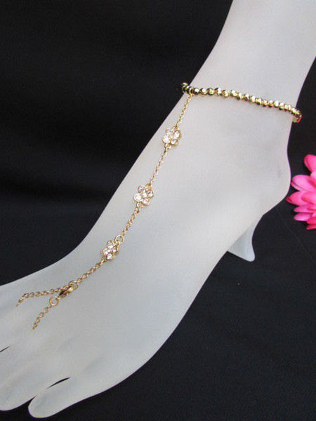 New Women Gold Metal Casual Trendy Fashion Anklet Foot Thin Chain Jewelry Small Flower Roses Clear Rhinestones Charm Beach Party Weddings - alwaystyle4you - 3