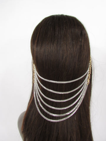Brand New Trendy Women Gold Metal Long Head Chain Sides Clips Multi Waves Silver / Black Draps Strands Fashion Jewelry #0003 - alwaystyle4you - 4