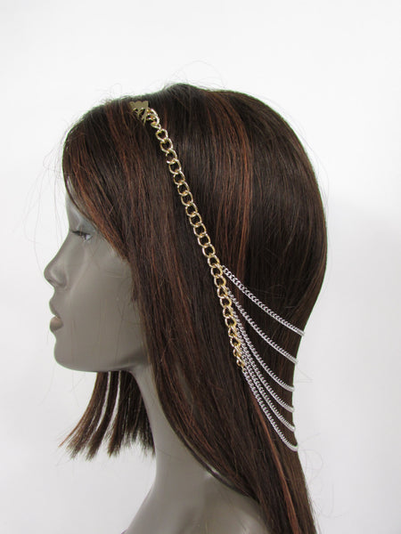 Brand New Trendy Women Gold Metal Long Head Chain Sides Clips Multi Waves Silver / Black Draps Strands Fashion Jewelry #0003 - alwaystyle4you - 1