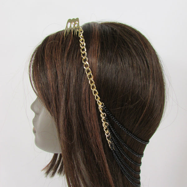 Brand New Trendy Women Gold Metal Long Head Chain Sides Clips Multi Waves Silver / Black Draps Strands Fashion Jewelry #0003 - alwaystyle4you - 2