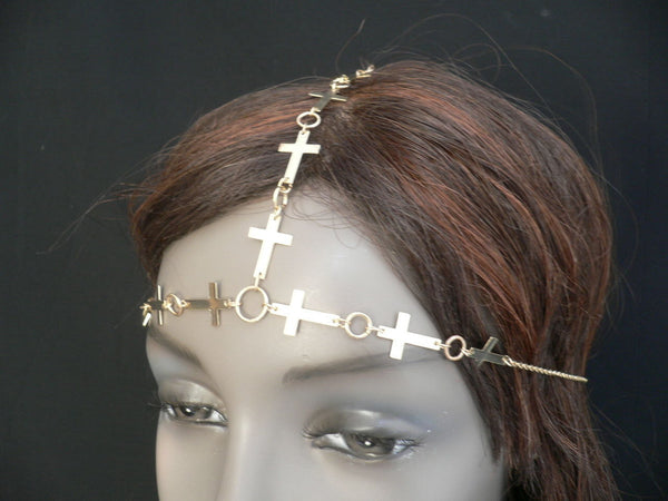 Brand New Trendy Women Gold Metal Multi Crosses Head Chai Crosses Beach Fashion - alwaystyle4you - 1