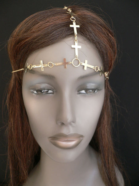 Brand New Trendy Women Gold Metal Multi Crosses Head Chai Crosses Beach Fashion - alwaystyle4you - 3