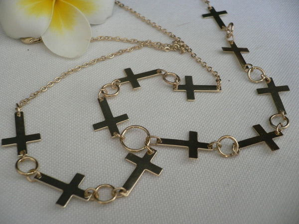 Brand New Trendy Women Gold Metal Multi Crosses Head Chai Crosses Beach Fashion - alwaystyle4you - 5