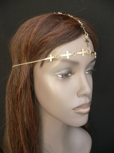Brand New Trendy Women Gold Metal Multi Crosses Head Chai Crosses Beach Fashion - alwaystyle4you - 4