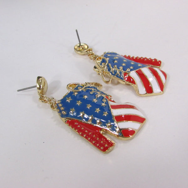 New Women Gold American Flag USA Metal Dangle Pump Shoes Red Blue High Heel Stilettos Trendy Earrings Set Hook Hip Hop Fashion - alwaystyle4you - 3