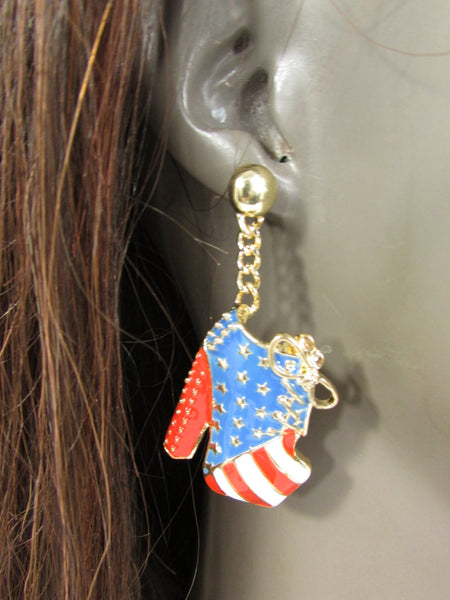 New Women Gold American Flag USA Metal Dangle Pump Shoes Red Blue High Heel Stilettos Trendy Earrings Set Hook Hip Hop Fashion - alwaystyle4you - 4
