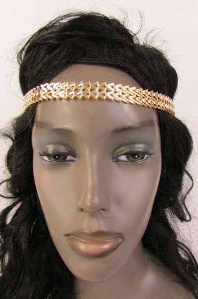 New Gold Women Fashion Metal Head Chain Forehead Black Elastic Fashion Jewelry Hair Accessories - alwaystyle4you - 1