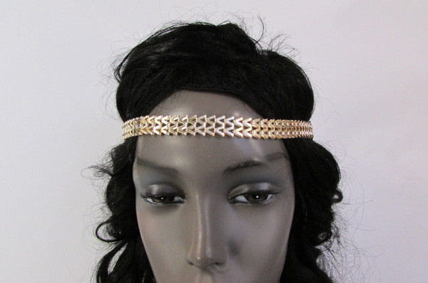 New Gold Women Fashion Metal Head Chain Forehead Black Elastic Fashion Jewelry Hair Accessories - alwaystyle4you - 5