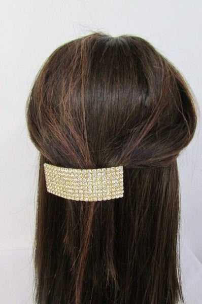 New Rhinestone Gold Women Fashion Metal Head Poinytail Fashion Jewelry Hair Accessories Wedding - alwaystyle4you - 1