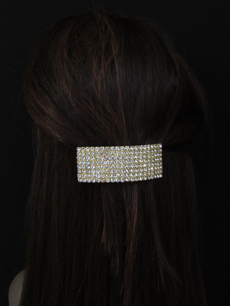 New Rhinestone Gold Women Fashion Metal Head Poinytail Fashion Jewelry Hair Accessories Wedding - alwaystyle4you - 5