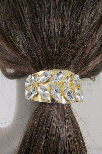 New Women Gold Rhinestons Fashion Metal Head Ponytail  Jewelry Hair Accessories Wedding - alwaystyle4you - 1