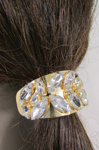 New Women Gold Rhinestons Fashion Metal Head Ponytail  Jewelry Hair Accessories Wedding - alwaystyle4you - 5