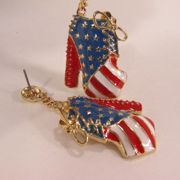 New Women Gold American Flag USA Metal Dangle Pump Shoes Red Blue High Heel Stilettos Trendy Earrings Set Hook Hip Hop Fashion - alwaystyle4you - 5
