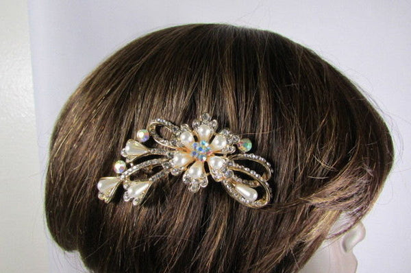 New Women Gold With Silver Flower Rhinestones Fashion Metal Head Pin Fashion Jewelry Hair Accessories - alwaystyle4you - 3