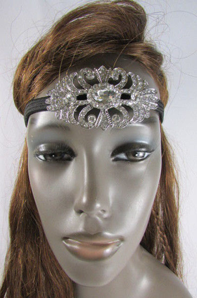 New Rhinestone Silver Women Fashion Metal Side Head Band Forehead Jewelry Hair Accessories Wedding - alwaystyle4you - 1