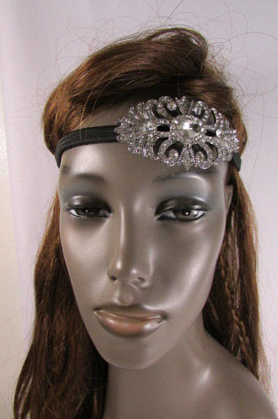 New Rhinestone Silver Women Fashion Metal Side Head Band Forehead Jewelry Hair Accessories Wedding - alwaystyle4you - 3