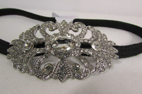 New Rhinestone Silver Women Fashion Metal Side Head Band Forehead Jewelry Hair Accessories Wedding - alwaystyle4you - 4