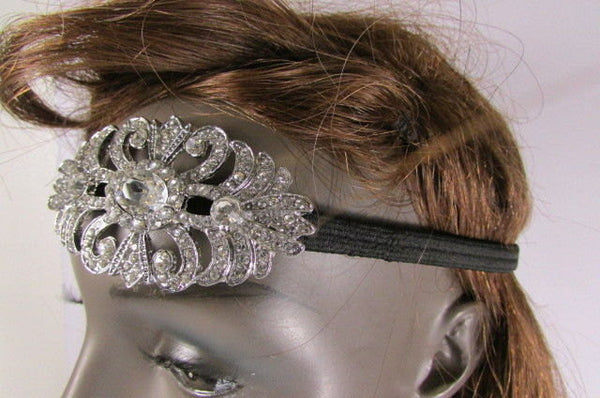 New Rhinestone Silver Women Fashion Metal Side Head Band Forehead Jewelry Hair Accessories Wedding - alwaystyle4you - 5