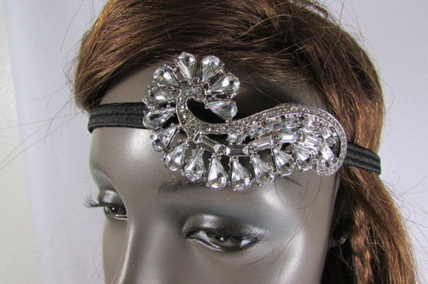 New Trendy Rhinestone Silver Women Fashion Metal Side Head Band Forehead Jewelry Hair Accessories Wedding - alwaystyle4you - 1