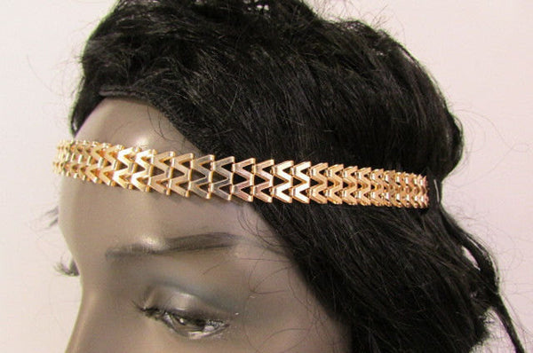New Gold Women Fashion Metal Head Chain Forehead Black Elastic Fashion Jewelry Hair Accessories - alwaystyle4you - 2