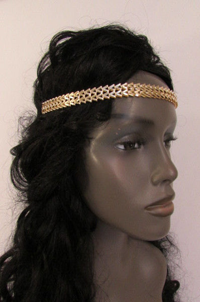 New Gold Women Fashion Metal Head Chain Forehead Black Elastic Fashion Jewelry Hair Accessories - alwaystyle4you - 4