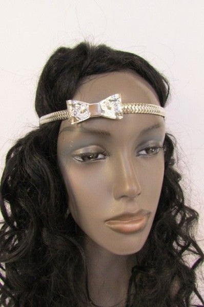 New Silver Women Fashion Metal Head Chain Bow Forehead Black Elastic Fashion Jewelry Hair Accessories - alwaystyle4you - 2